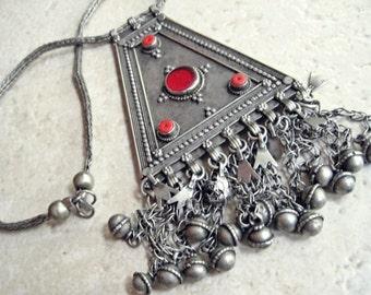 Vintage Yemeni Necklace, Bedouin Jewelry, Huge Triangle Pendant, Statement Necklace from Yemen, Tribal Jewelry