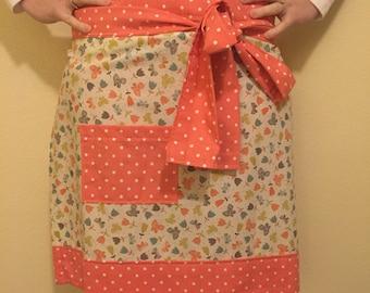 Coral flower print apron, womens apron, hostess apron, half sized apron, adult apron, flower apron, floral apron
