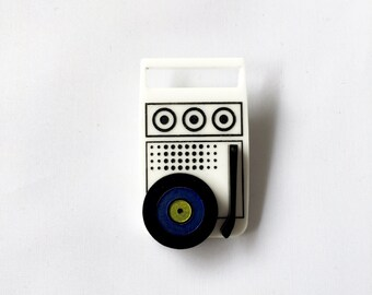 """Acrylic laser cut """"Moonrise Sounds"""" camping vintage record player brooch hand painted Moonrise Kingdom Wes Anderson"""