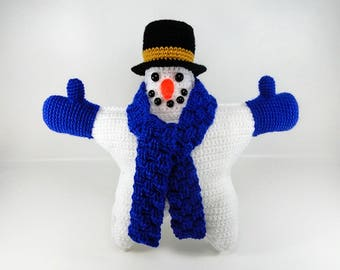 Snowman Crochet Pattern #105 -  Flake the Snowman Star Pillow Crochet Pattern - Amigurumi - Instant Download PDF