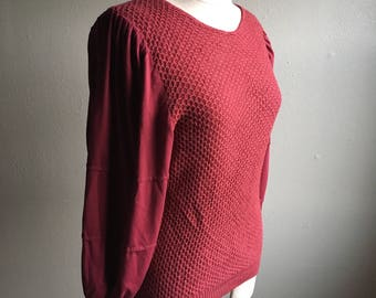 vintage nubby knit maroon puff sleeve sweater shirt made in taiwan