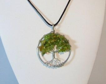 Tree of Life Peridot Crystal Pendant Necklace (medium)