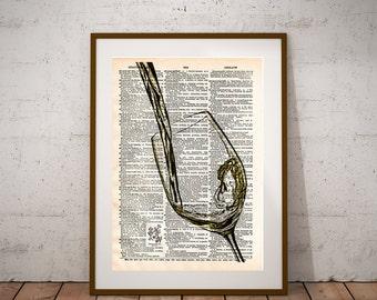 White Wine art, Wine splash art, pouring White wine, Gift for wine drinker, dictionary art print