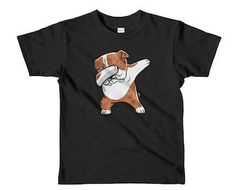 Brindle English Bulldog Dog Dabbing Short Sleeve Kids T-Shirt