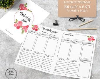2 Pages per Week Planner, B6 Weekly Planner Inserts, Flower TN, Weekly Planner Printable, Undated Weekly Planner, B6 TN Inserts, B6 Planner