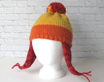 Jayne Hat, Knit Cunning Earflap Hat, Premium Handknit Fan Hat, Jane Hat, Gifts for Him, Gifts for Her, Geeky Hat, Earflap Hat, Pom Pom Hat