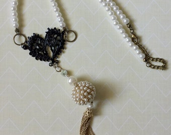 Black Heart Tassel Necklace