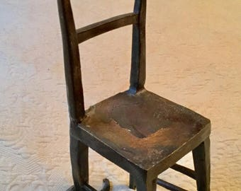 Vintage Frank Iffland Bronze Chair with Cat Scupture