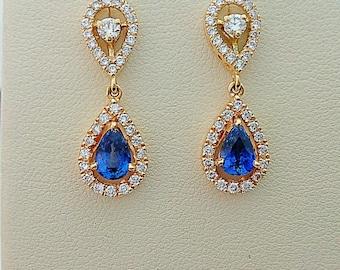 Sapphire earring,sapphire diamond earring,Ceylon sapphire earrings,sapphire and diamond earring,bridal earring,yellow gold earring,