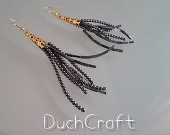 Hematite Golden Coloured Detailed Earrings