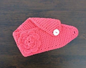 Coral Pink Headband | Coral Pink Earwarmer | Coral Pink Headwarmer | Flower Headband | Flower Earwarmer
