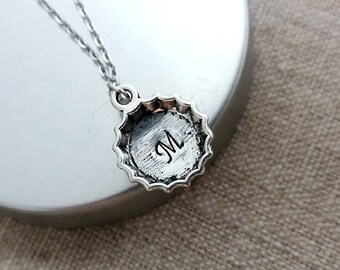 Silver Beer Capsule Necklace. Initail Necklace. Beer Cap Necklace.Silver Beer Charm.Hand Stamped Initial.Barmaid Jewellery. Initial Beer Cap