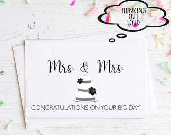 Congratulations Mrs. & Mrs. Engagement Card. Congratulations on your engagement. Funny Engagement Card. Wedding Card. Funny Wedding Gift.