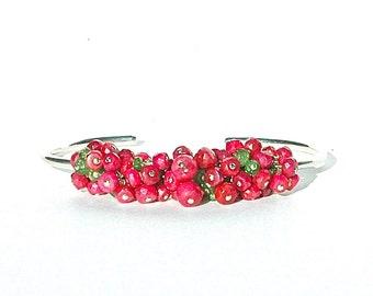 Ruby & Garnet Gemstone Cuff / Green Tsavorite Gemstone / Sterling Silver Bangle / Wire Wrapped / Pink Red Bracelet / OOAK