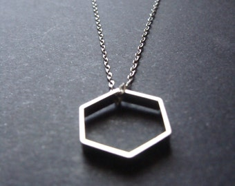 Silver Hexagon Necklace on Silver Chain Minimalist