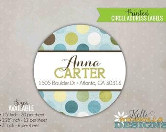 Blue & Green Baby Shower Circle Return Address Labels #S114
