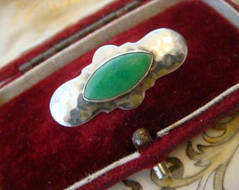 Antique Victorian c1890s Arts and Crafts Art Nouveau Sterling Silver Ruskin Brooch, Peking Glass, Great Cond. Just Adorable!