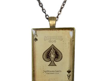 Vintage ephemera shabby chic Ace of spades glass pendant NECKLACE in ANTIQUE BRASS