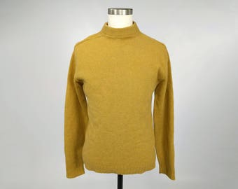 Classic Lambs Wool Sweater • Vintage McGregor • Made in USA • Mustard Yellow Wool Sweater • Men's Medium