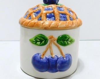 Jelly Jam Preserves Jar Dish Blueberry Lattice Pie Lid Ceramic Embossed Blueberries No Spoon
