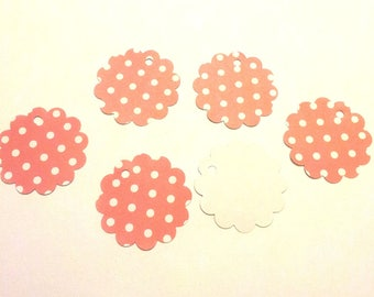 15 gift tags with white polka dots pink paper flowers