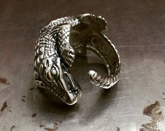 Silver Alligator Ring, Crocodile Ring, Sterling Silver Animal Rings