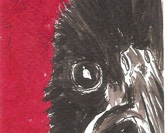Young Crow original ACEO painting