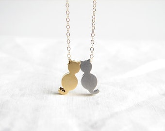 Gold and Silver Kitten Necklace. Best Friends. Friendship Necklace. Brides Maid Gift. Simple Modern Jewelry by PetitBlue