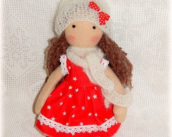 Dress up doll Fleece rag doll Doll with clothes Doll play set First doll Baby doll Organic soft doll Primitive Christmas doll