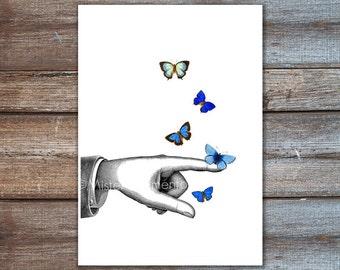 Pointing finger art, blue butterflies print