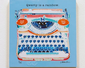 """Typewriter Wood block - """"Qwerty is a rainbow."""" - ready to hang"""