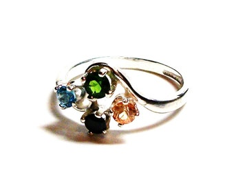"""Chrome diopside, multistone  ring, accent ring, green yellow black blue, 4 stone ring, anniversary ring, s 5 1/2 """"4 Star Night"""""""