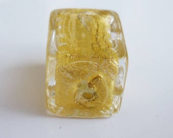 Murano glass bead shaped rectangular 20x17mm