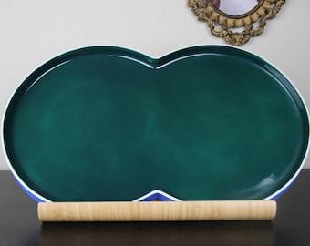 BLOCK Chromatics Serving Platter . Vintage Block Germany Ceramic Platter . Block Chromatics Blue Green Platter . Avant Garde Sculptural Tray