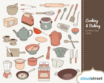 BUY 2 GET 1 FREE Cooking and Baking Clipart  for personal and commercial use ( kitchen utensils clip art ) vector graphics