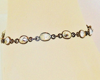 1 strand 5 mm oval cubic zirconia oxidized sterling silver chain bracelet