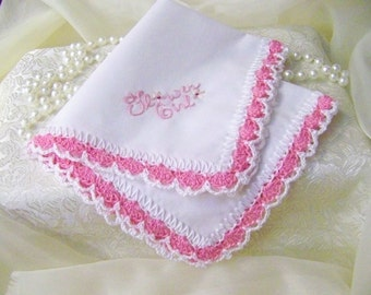 Flower Girl Handkerchief, Bridal Party gift, Hand Crochet, Ready to ship
