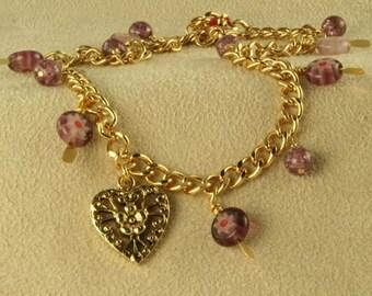 Golden Heart Charm Anklet Handmade