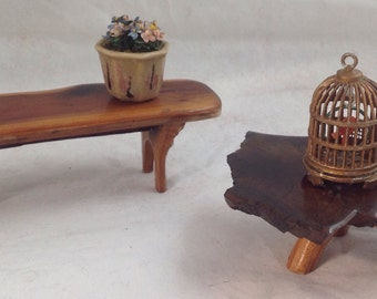 Miniature Dollhouse HaNdMaDe wood slice with branch legs, ONE of a Kind