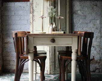 Large Rustic Farmhouse Pine Drop Leaf Table with Single Drawer in Old Ochre