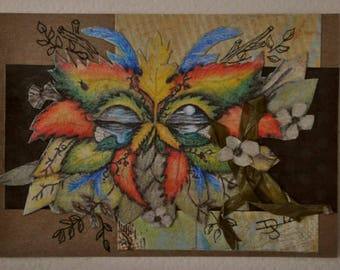 ACEO, Artist Trading Card, Handmade collage using print of an original painting of a mask with leaves, shells and a night time ocean