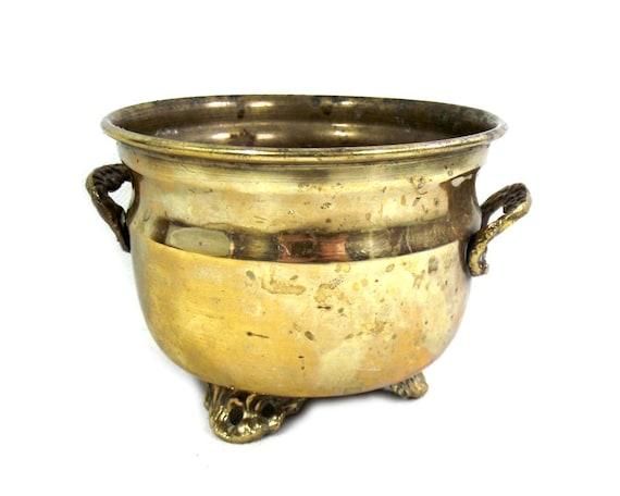 Vintage Brass Jardiniere with Brass Feet
