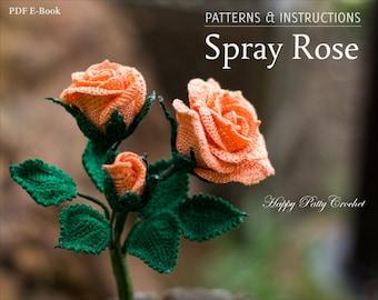 Crochet Pattern - Crochet Rose Pattern - Crochet Flower Pattern - Home Decor & Wedding Bouquet Spray Rose Crochet Pattern  - Rose Applique