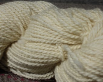 Romney Wool Yarn  -- White, sport weight, 4 1/2 ounces 2-ply skein
