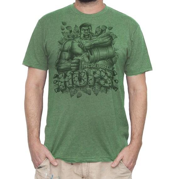 Hulk Shirt - Mens Hulk T-shirt- Hulks Incredible Hops Beer Shirt- Bruce Banner Shirt -Beer Shirt -Mens Craft Beer T-Shirt- Funny Green Shirt