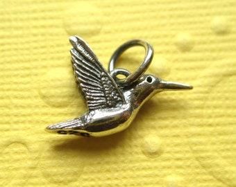 Hummingbird in Flight Charmin Sterling Silver