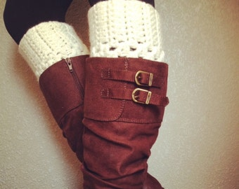 On SALE Now Best Selling Crochet Boot Cuffs in Cream