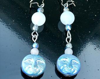 Man in the moon earrings, moon earrings, celestial jewelry, Czech bead earrings, moon jewelry, space jewelry, geek jewelry, eclipse