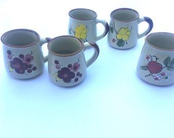 Set of 5 vintage floral coffee mugs / planters
