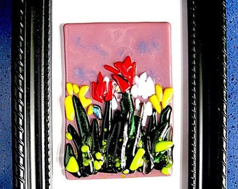 Fused Glass Picture - Field of Smiling Flowers